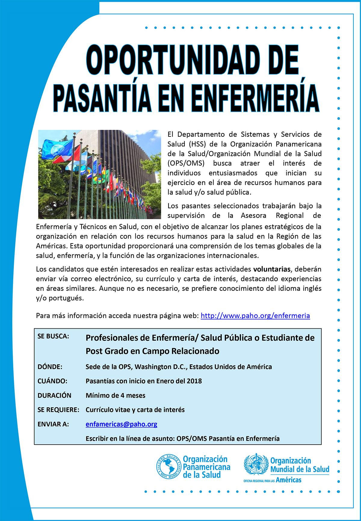 Oportunidad de Pasantía en Enfermería - OPS/OMS | Observatorio ...